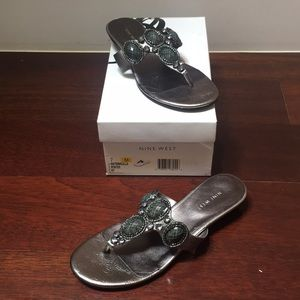 "New Nine West ""Marcella"" sandals size 7 pewter"